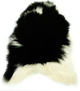 Natural Black and White Icelandic Sheepskin