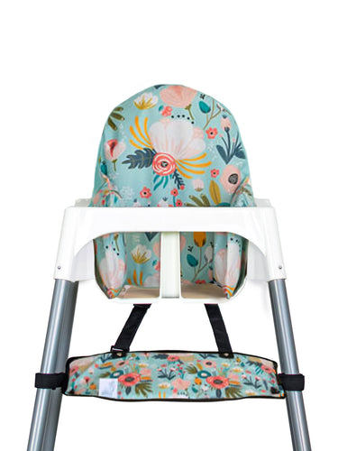 High Chair Cushion Cover - Minty Floral - My Tiny Fingers