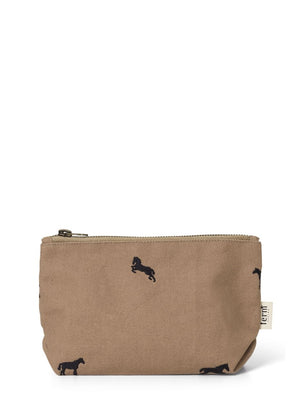 Ferm Living Horse Embroidery Cosmetic Bag Small Tan - Cloudberry Living