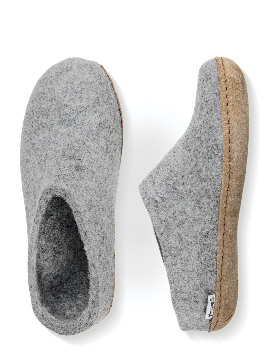 Glerups Danish Felt Slippers Unisex Light Grey - Cloudberry Living