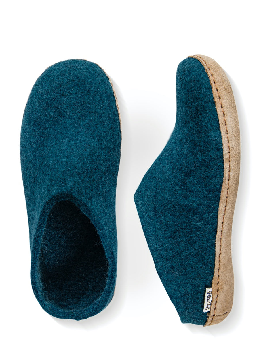 Glerups Danish Felt Slippers Unisex Petrol - Cloudberry Living