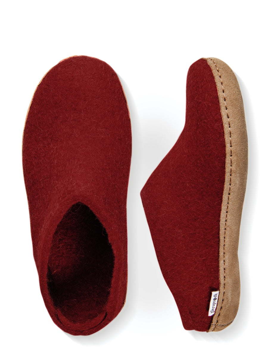 Glerups Danish Felt Mule Slippers Unisex Red - Cloudberry Living