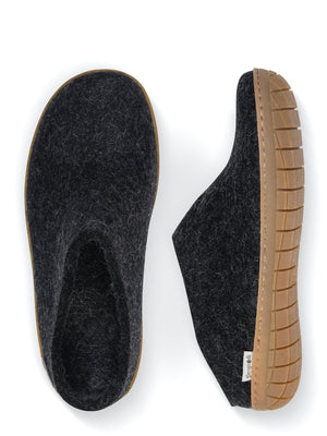 Glerups Danish Felt Slippers Unisex Charcoal Grey Rubber Sole - Cloudberry Living