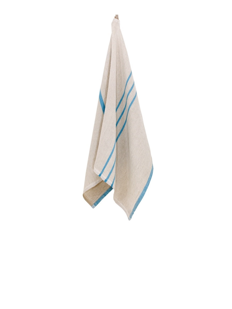 Lapuan Kankurit Usva Washed Linen Hand Towel, Bright Turquoise Blue Stripe - Cloudberry Living