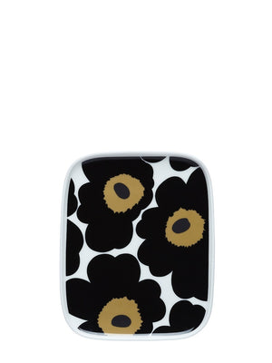 Marimekko Oiva Unikko Black Plate - Cloudberry Living