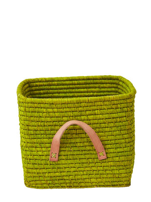 Rice Denmark Raffia Storage Basket Lime Green Leather Handles - Cloudberry Living