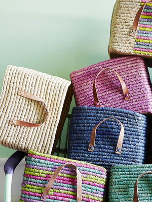 Rice Denmark Raffia Storage Basket Fuschia Leather Handles - Cloudberry Living
