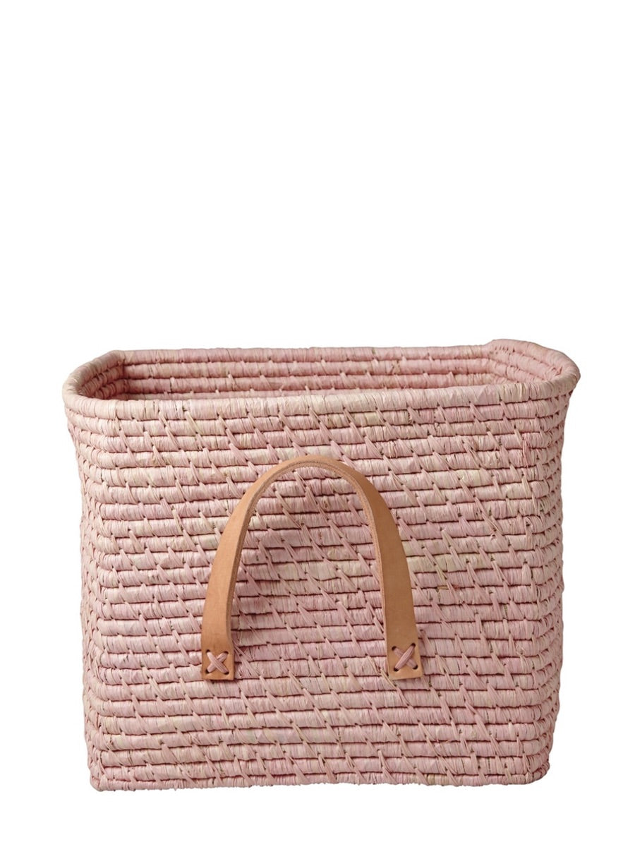 Rice Denmark Raffia Storage Basket Soft Pink Leather Handles - Cloudberry Living