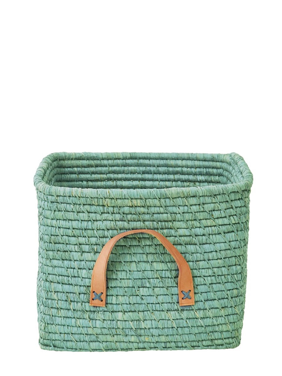 Rice Denmark Raffia Storage Basket Mint Leather Handles - Cloudberry Living