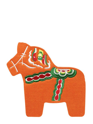 Sagaform Swedish Dala Horse Embroidered Felt Trivet Orange - Cloudberry Living