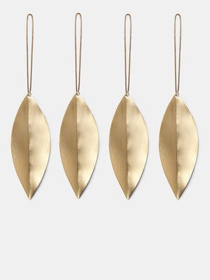 Ferm Living Christmas Leaf Brass Ornaments Set of 4 - Cloudberry Living