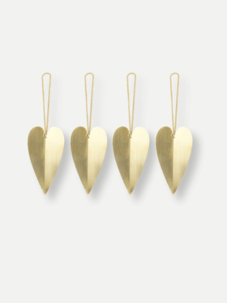 Ferm Living Heart Brass Ornaments Set of 4 - Cloudberry Living
