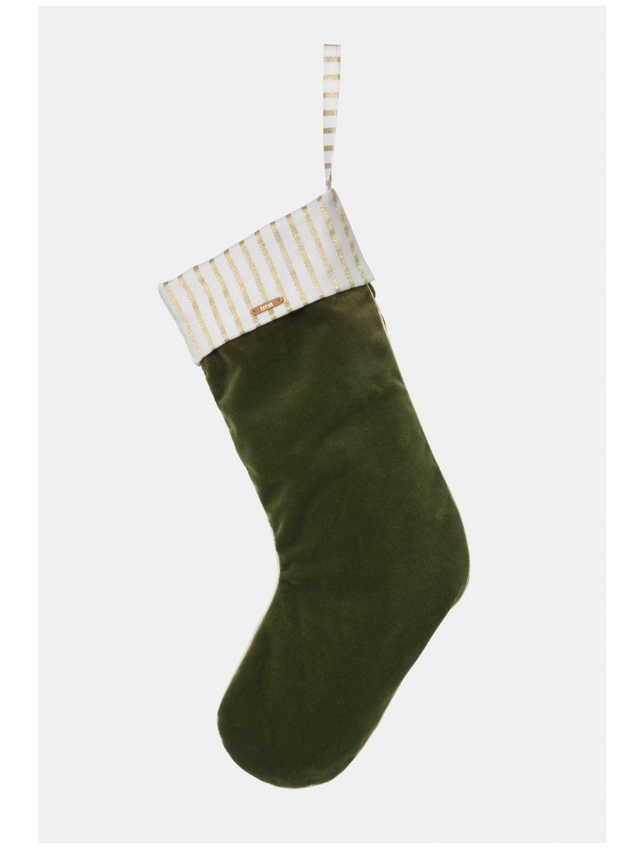Ferm Living Christmas Velvet Stocking Green - Cloudberry Living