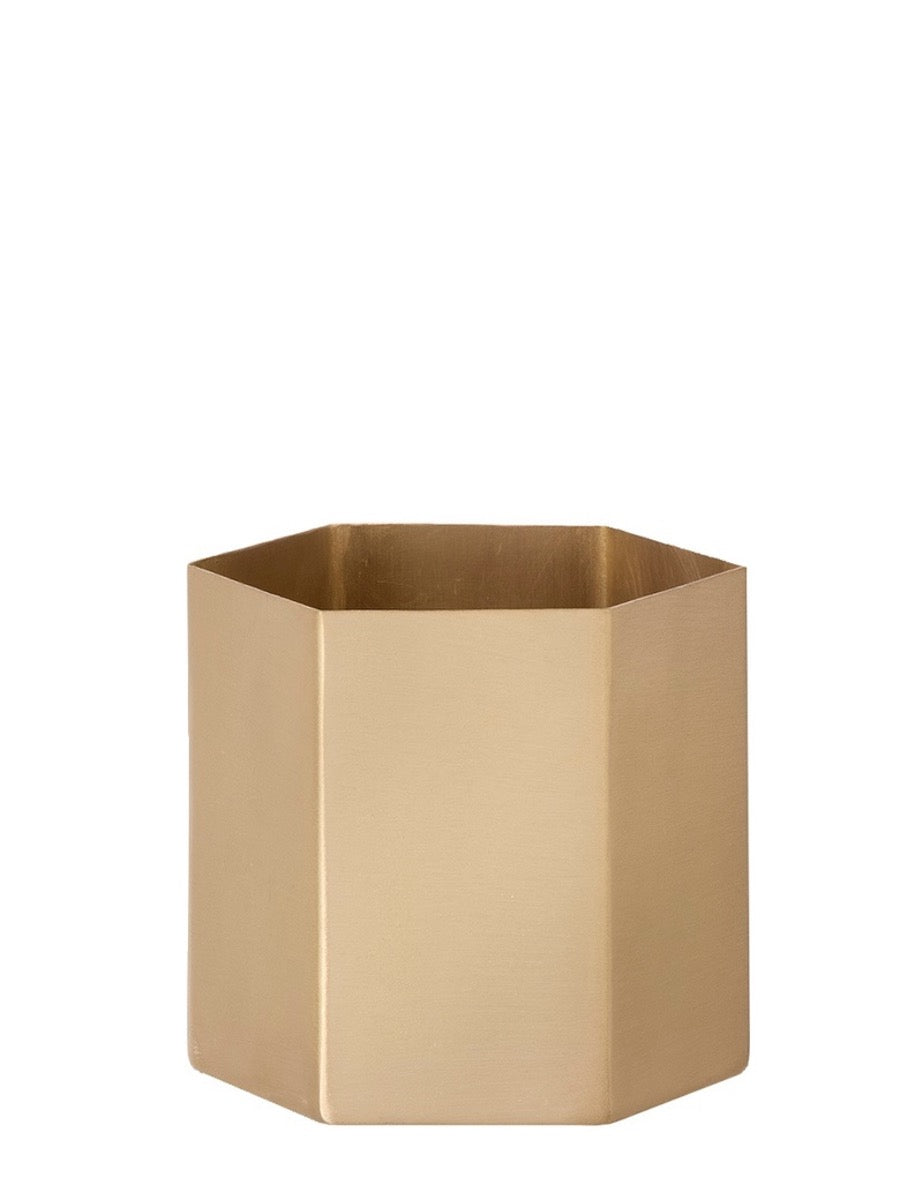 Ferm Living Hexagon Brass Pot 13.5 cm - Cloudberry Living