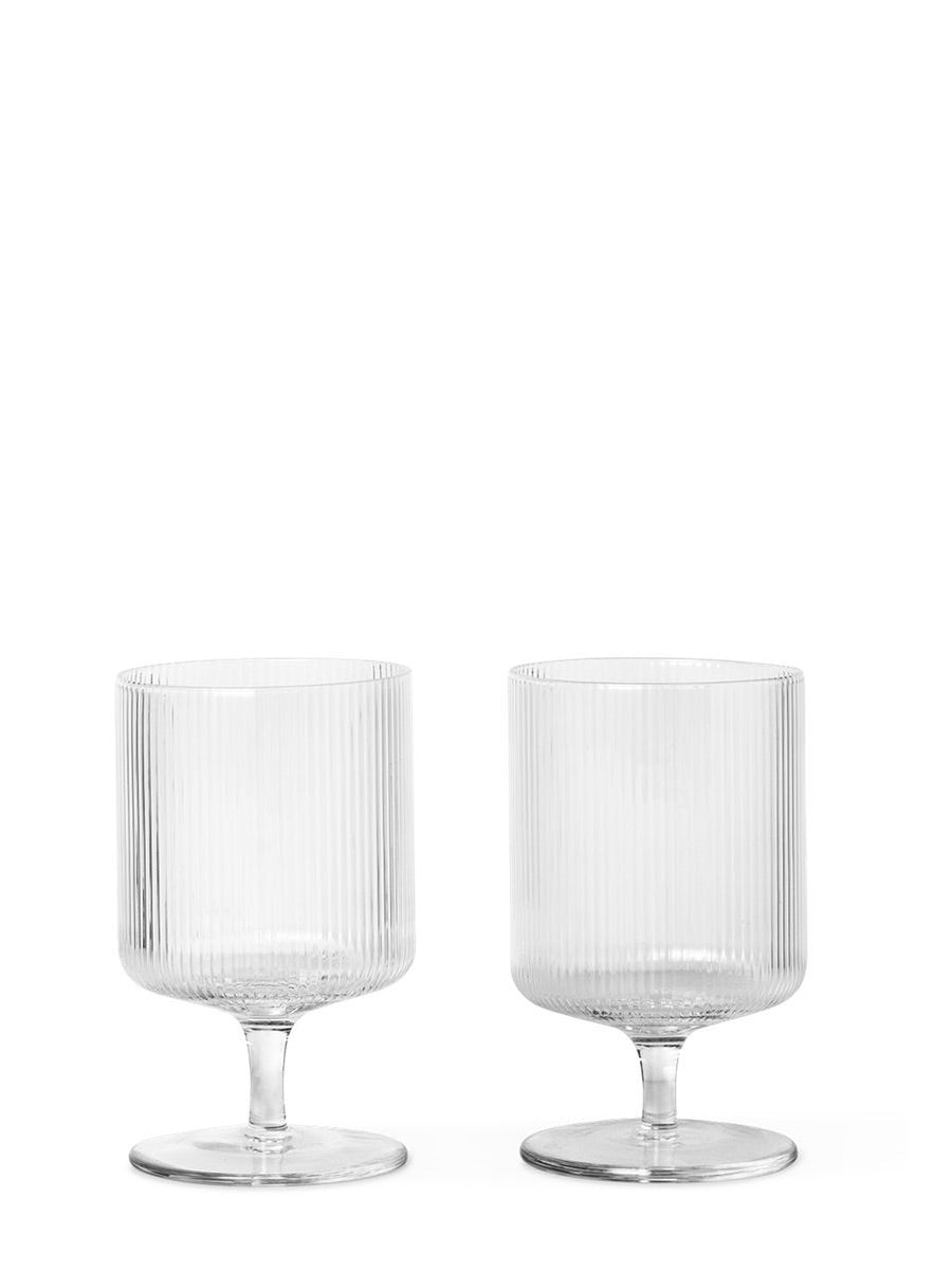 Ferm Living Ripple Wine Glasses Set of 2 Clear - Cloudberry Living
