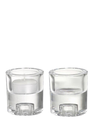 Round Clear Glass Candle Holders 2-1 Design Set of 2 - Cloudberry Living