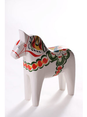 Traditional Swedish Handmade Dala Horse White - Cloudberry Living