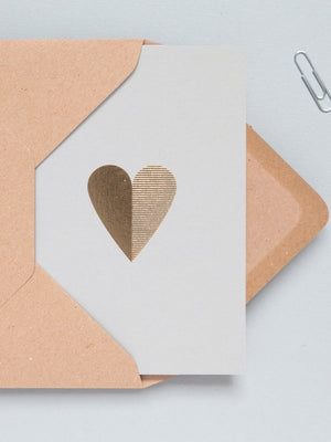 Ola Studio Foil Blocked Heart Card Brass on Grey - Cloudberry Living