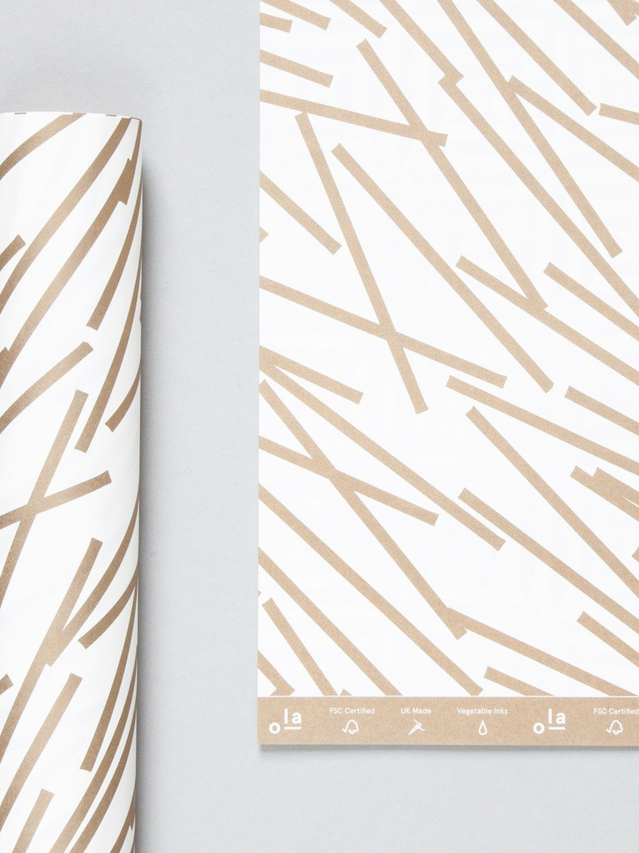Ola Studio Patterned Paper Lines Print in Gold 2 Sheets - Cloudberry Living