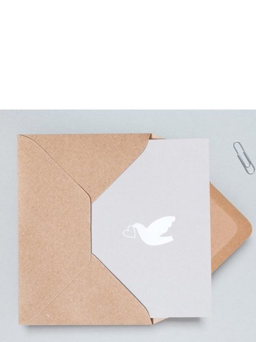 Ola Studio Foil Blocked Love Dove Card White on Grey - Cloudberry Living