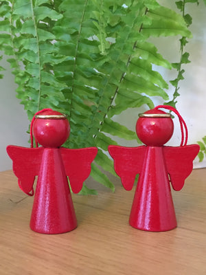 Scandinavian Wooden Red Angel Decorations Set of 2 - Cloudberry Living