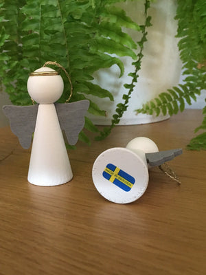 Scandinavian Wooden White Angel Decorations Set of 2 - Cloudberry Living