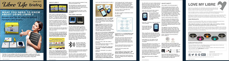 Thumbnails for Libre Life Briefing Winter 2021. What you need to know about Libre 2 sensors.