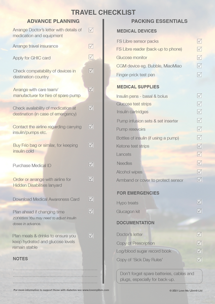 Travel checklist for travelling with diabetes. Spring 2021 issue of Libre Life. Produced by Love My Librre Ltd.