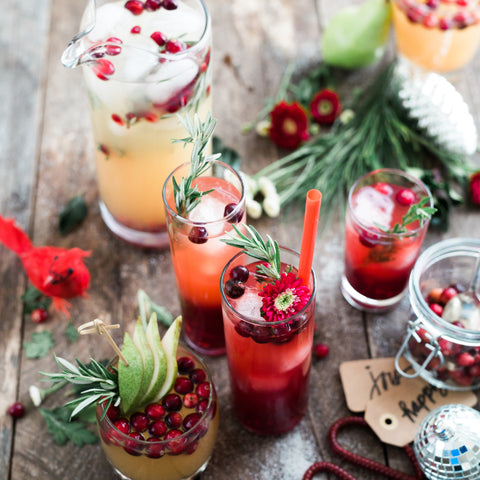 Array of party drinks for a christmas party.