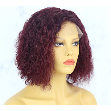 #99J Burgundy Color 13X4 Lace Front Wig Short BOB WIG Deep Curly-Kefi Hair Company
