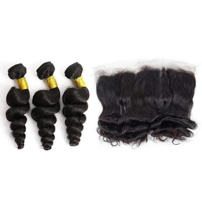 Brazilian Hair Bundles (3pcs) + Lace Frontal (1pc) Loose Wave-Kefi Hair Company