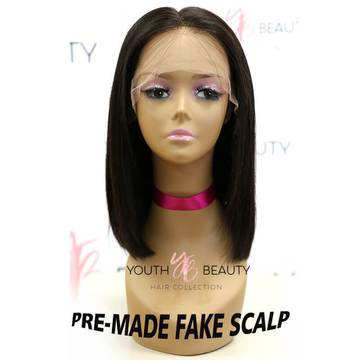 Pre-Made Glueless Fake Scalp 13X6 Lace Frontal Short Bob Wig Silky Straight-Kefi Hair Company