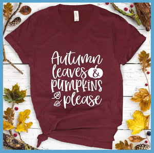Autumn Leaves & Pumpkins Please V-Neck