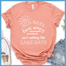 Load image into Gallery viewer, Sun Rays Boat Waves Lake Days Version 2 T-Shirt