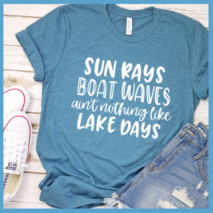 Sun Rays Boat Waves T Shirt