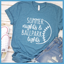 Load image into Gallery viewer, Summer Nights And Ballpark Lights T-Shirt