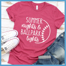 Load image into Gallery viewer, Summer Nights And Ballpark Lights T Shirt