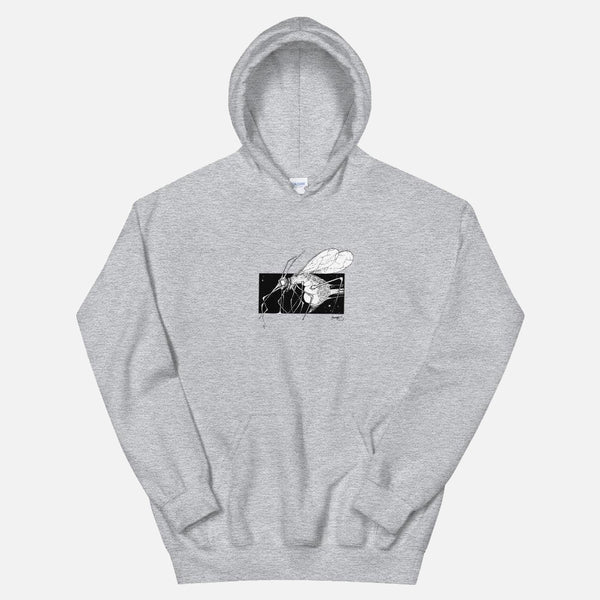 """ DEADLY MOSQ "" HOODIE / GREY-WHITE / BY SNAG"