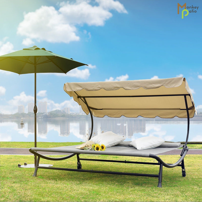 Miramar Double Chaise Lounge Daybed with Canopy