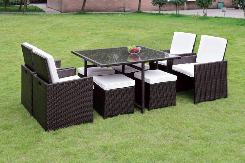 Amarillo Contemporary 9-Piece Wicker Patio Dining Set