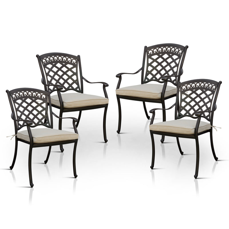 Edison Transitional Padded Patio Arm Chairs (Set of 4)
