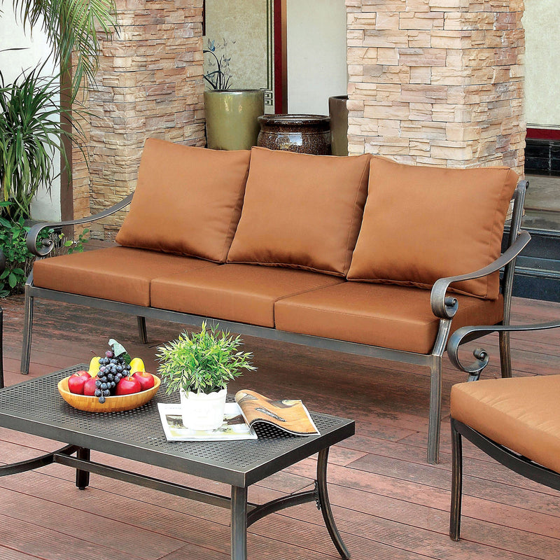 Sapo Contemporary Padded Patio Sofa