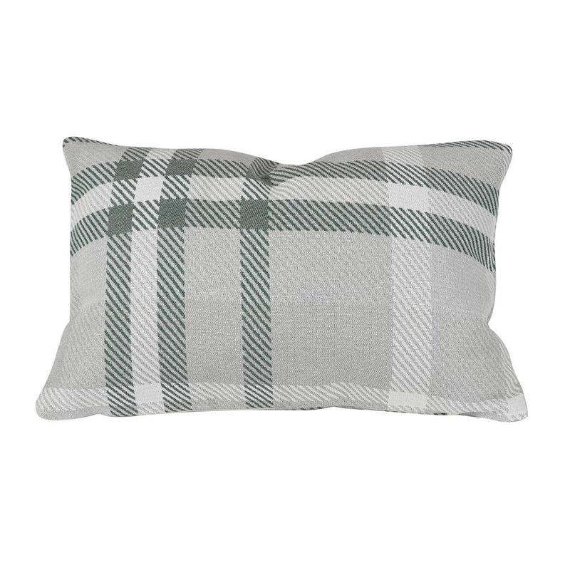 Monkey Patio Tartan Jade Lumbar Outdoor Accent Throw Pillow