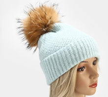 Load image into Gallery viewer, Beanie Box Stitch Wool Blend with Removable Pom Pom Soft Blue