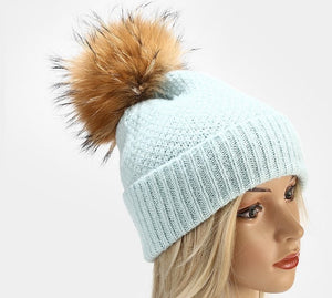 Beanie Box Stitch Wool Blend with Removable Pom Pom Soft Blue