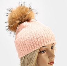 Load image into Gallery viewer, Beanie Box Stitch Wool Blend with Removable Pom Pom Soft Pink