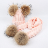 Load image into Gallery viewer, Beanie Child Double Pom Pom Soft PInk