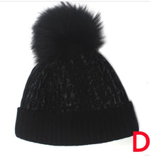 Load image into Gallery viewer, Beanie Apres Ski, Shine Finish Wool Blend Matched Fox Fur Pom Pom - Navy
