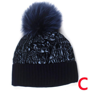 Beanie Apres Ski, Shine Finish Wool Blend Matched Fox Fur Pom Pom - Navy