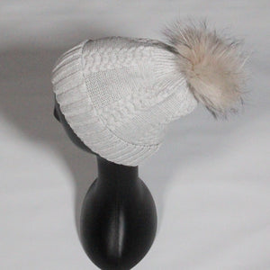 Beanie- Stitched Cable Pattern- Soft Wool Blend with removable Pom Pom- Pale Grey